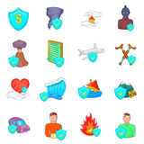 Insurance icons set, cartoon style. Insurance icons set in cartoon style isolated on white background Stock Photos