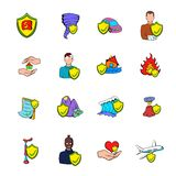 Insurance icons set cartoon. Insurance icons set in cartoon style isolated on white background vector illustration Royalty Free Stock Images