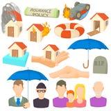 Insurance icons set, cartoon style Royalty Free Stock Image
