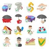 Insurance icons set, cartoon style. Insurance icons set in cartoon style  on white Stock Image