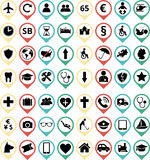 Insurance icons. Set of different colored travel insurance icons stock illustration