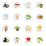 Insurance icons set, flat style Royalty Free Stock Images