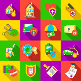 Insurance icons set, flat style Royalty Free Stock Photography