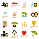 Insurance icons set, flat style. Insurance icons set. Flat illustration of 16 insurance vector icons for web Stock Photos