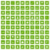 100 insurance icons set grunge green. 100 insurance icons set in grunge style green color isolated on white background vector illustration Stock Photo