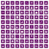 100 insurance icons set grunge purple. 100 insurance icons set in grunge style purple color isolated on white background vector illustration stock illustration