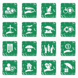 Insurance icons set grunge Stock Photography