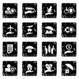 Insurance icons set, grunge style Royalty Free Stock Images