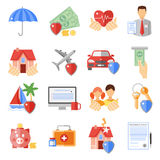 Insurance Icons Set. With house transport and life safety symbols flat isolated vector illustration Royalty Free Stock Photos