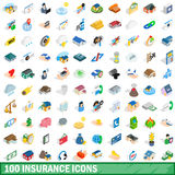 100 insurance icons set, isometric 3d style Stock Photo