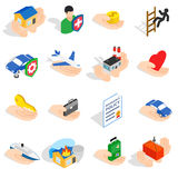 Insurance icons set, isometric 3d style Stock Images