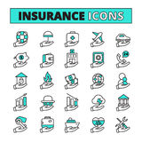 Insurance Icons Set. Insurance line icons set with property transport and life safety symbols flat  vector illustration Stock Image