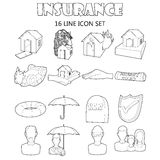 Insurance icons set, outline style. Outline insurance icons set. Universal insurance icons to use for web and mobile UI, set of basic insurance elements  vector Stock Photo