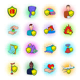 Insurance icons set, pop-art style. Insurance icons set in pop-art style  on white Royalty Free Stock Photos
