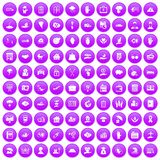 100 insurance icons set purple. 100 insurance icons set in purple circle isolated vector illustration Stock Image