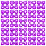 100 insurance icons set purple. 100 insurance icons set in purple circle isolated vector illustration royalty free illustration