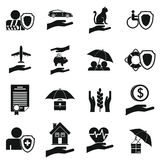 Insurance icons set, simple style. Insurance icons set. Simple illustration of 16 insurance vector icons for web stock illustration