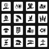 Insurance icons set squares vector Stock Image