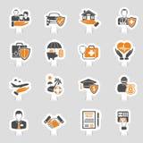 Insurance Icons Sticker Set Stock Photos