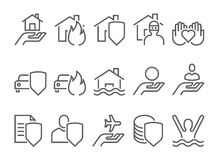 Insurance icons, thin line style Royalty Free Stock Photo