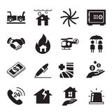 Insurance Icons Vector Illustration Set Stock Images