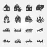 Insurance icons vector set Royalty Free Stock Images