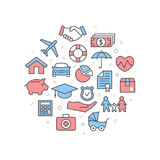 Insurance Illustration with icons Royalty Free Stock Image