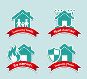 Insurance labels. Over blue background vector illustration Stock Photography