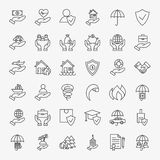 Insurance Line Art Design Icons Big Set. Vector Collection of Modern Thin Outline Business Life Insurance Services Symbols Stock Image