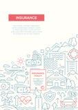 Insurance - line design brochure poster template A4 Stock Image