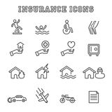 Insurance line icons Royalty Free Stock Photo