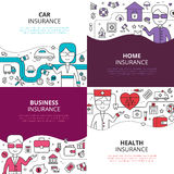 Insurance 4 linear design icons square. Home health and auto insurance business policies concept 4 linear icons square composition design abstract vector Stock Images