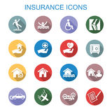 Insurance long shadow icons Royalty Free Stock Photo