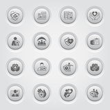 Insurance and Medical Services Icons Set. Button Design Royalty Free Stock Image