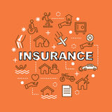 Insurance minimal outline icons Royalty Free Stock Image
