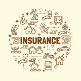 Insurance minimal thin line icons set Royalty Free Stock Photography