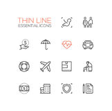 Insurance - modern vector single thin line icons set Stock Photography