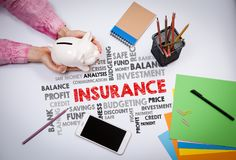 Insurance, Money and Profit Concept. Business woman with a piggy bank.  Royalty Free Stock Photos