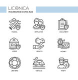 Insurance - monochromatic modern single line icons set Royalty Free Stock Photo