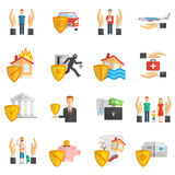 Insurance multicolored flat icon set. Insurance hand and shield multicolored flat icon set isolated vector illustration Royalty Free Stock Image