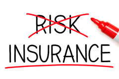 Insurance Not Risk. Choosing Insurance instead of Risk. Insurance underlined with red marker Stock Photo