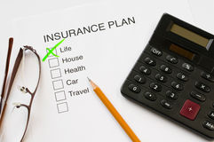 Insurance Plan. Thick box diagram with tick on life Stock Photos