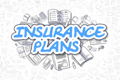 Insurance Plans - Cartoon Blue Text. Business Concept. Stock Image
