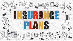 Insurance Plans Concept. Multicolor on White Brickwall. Royalty Free Stock Photos