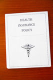 Insurance policy. A health insurance policy, from above Royalty Free Stock Photos