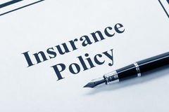 Insurance Policy. Document of Insurance Policy, Life; Health, car, travel,  for background Stock Photos
