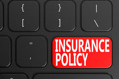 Insurance Policy on black keyboard. 3D rendering Royalty Free Stock Photo