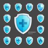 Insurance policy blue shield icon design. Vector Illustrations Royalty Free Stock Image