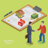Insurance policy deal flat isometric vector. Royalty Free Stock Image