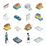 Insurance Policy Isometric Icons Set. Insurance policy protection elements isometric icons collection with personal injury fire and tornado damage isolated Royalty Free Stock Images